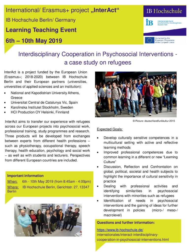 1st Learning Teaching Event Berlin 6 10 May 2019 Inter Act